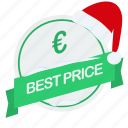 best, christmas, euro, guarantee, label, price, santa icon