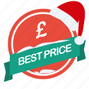 best, christmas, guarantee, label, pound, price, santa icon