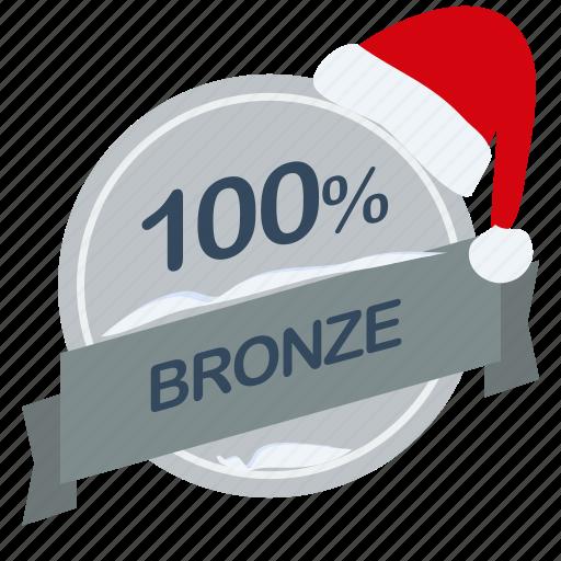 bronze, christmas, guarantee, label, percent, santa icon