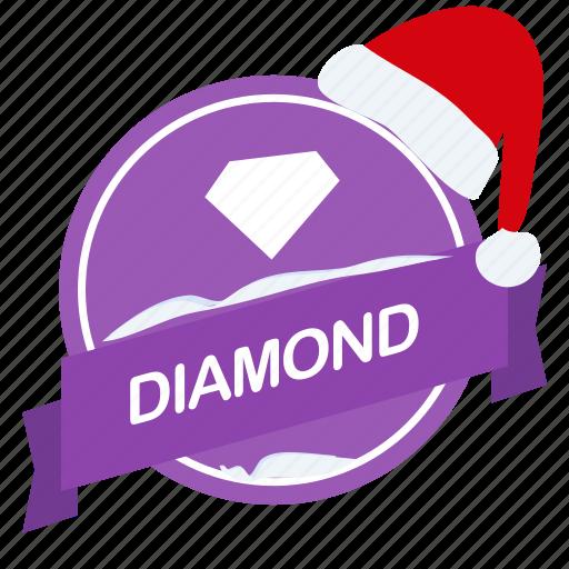 christmas, diamond, guarantee, label, santa icon