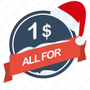 all, buck, for, guarantee, label, one, santa icon