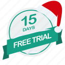 christmas, days, free, guarantee, label, santa, trial icon