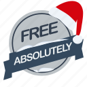 absolutely, christmas, free, guarantee, label, santa icon
