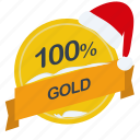 christmas, gold, guarantee, label, percent, santa icon