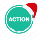 action, christmas, ribbon, santa, shopping icon