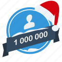 christmas, guarantee, label, million, one, santa, user icon