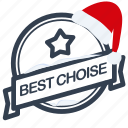 best, choise, christmas, guarantee, label, santa icon