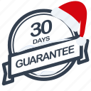 christmas, days, guarantee, label, period, santa icon