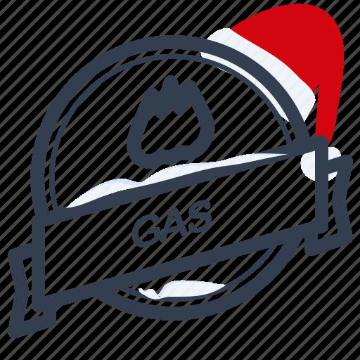 christmas, gas, guarantee, label, santa icon