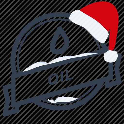 christmas, guarantee, label, oil, santa icon