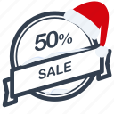 christmas, guarantee, label, percent, sale, santa icon