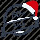 christmas, guarantee, label, percent, sale, santa