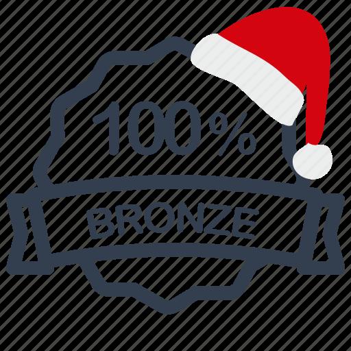 bronze, christmas, label, percent, sale icon