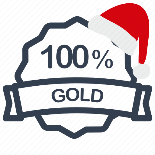 christmas, gold, label, percent, sale icon