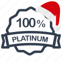 christmas, label, percent, platinum, sale icon