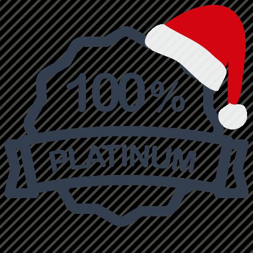 christmas, label, percent, platinum, sale icon