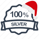 christmas, label, percent, sale, silver icon