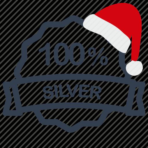 christmas, label, percent, sale, silver icon
