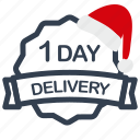 christmas, day, delivery, label, sale icon