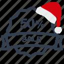 christmas, label, percent, sale