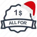 all, buck, christmas, for, label, one, sale icon