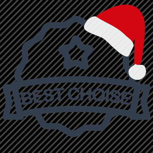 best, choise, christmas, label, sale icon