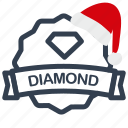 christmas, diamond, label, sale icon