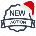 action, christmas, label, new, sale icon