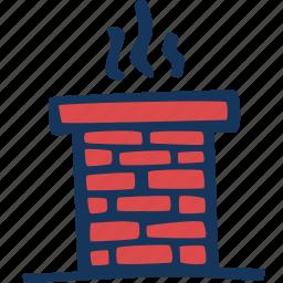 brick, chimney, christmas, roof, santa, smoke icon