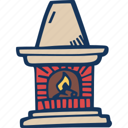 chimney, christmas, fire, fireplace, warm icon