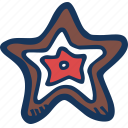 christmas, cookie, gingerbread, star, xmas icon