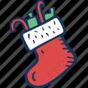 christmas, decoration, full, holidays, santas, sock, winter icon