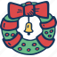 christmas, decoration, holidays, wreath icon