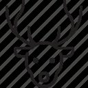 calf, caribou, christmas, deer, reindeer, rudolph icon