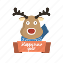 animal, animals, award, badge, business, christmas, christmas deer, communication, deer, favorite, favourite, gold, holiday, pet, reward, rudolph, scarf, shop, snow, trophy, winter, xmas, year icon