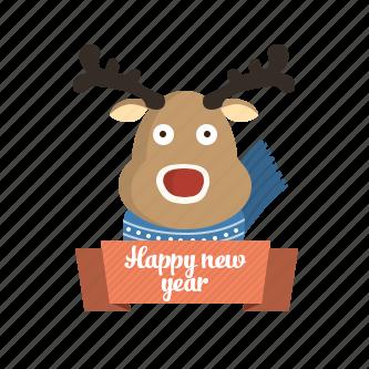 animal, animals, award, badge, business, christmas, christmas deer, communication, deer, favorite, favourite, gold, holiday, pet, reward, rudolph, scarf, shop, snow, trophy, winter, xmas, year icon