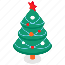 christmas, tree, decorated, new year icon