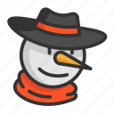 cartoon, christmas, cute, funny, hat, snowman icon