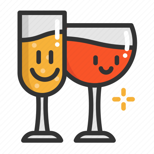cartoon, champagne, christmas, cute, funny, wine icon