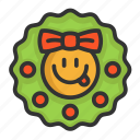 cartoon, christmas, cute, funny, wreath icon