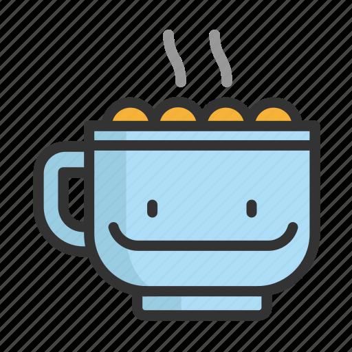 cacao, cartoon, christmas, coffee, cute, funny icon