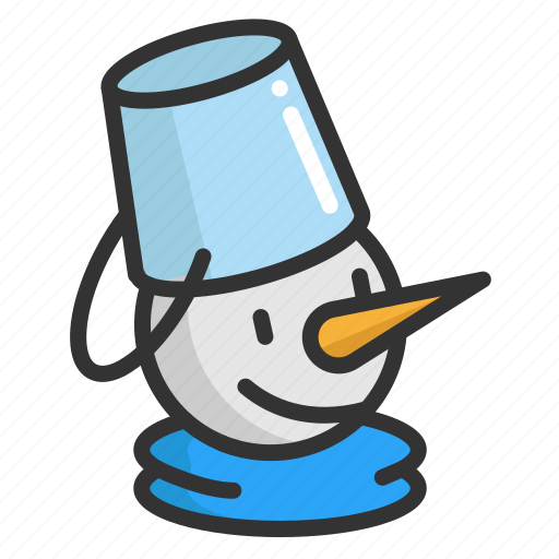 bucket, cartoon, christmas, cute, funny, snowman icon