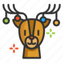 cartoon, christmas, cute, deer, funny icon