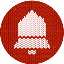 bell, cloth, fabric, knitwear, red, white icon
