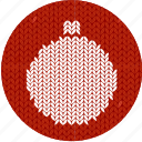 ball, christmas, cloth, fabric, holiday, knitwear, red icon