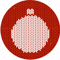ball, christmas, cloth, fabric, holiday, knitwear, red, white icon