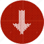 arrow, cloth, download, fabric, knitwear, red, white icon