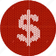 cash, cloth, dollar, economics, fabric, knitwear, money, red, white icon