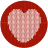 cloth, fabric, heart, knitwear, love, red, sympathy, valentine, valentine's day, white icon