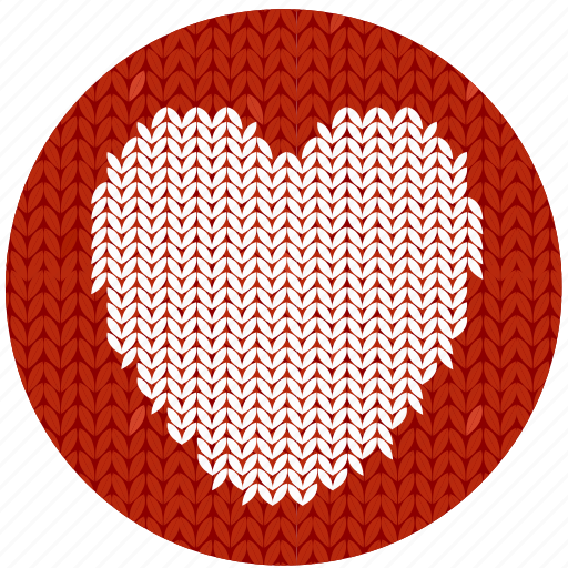cloth, fabric, heart, knitwear, love, red, sympathy, valentine, valentine's day, white icon